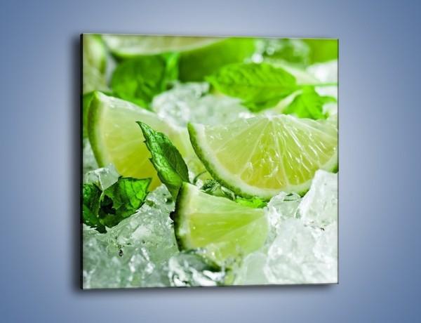 Obraz na płótnie – Limonka zanurzona w wodzie – jednoczęściowy kwadratowy JN468