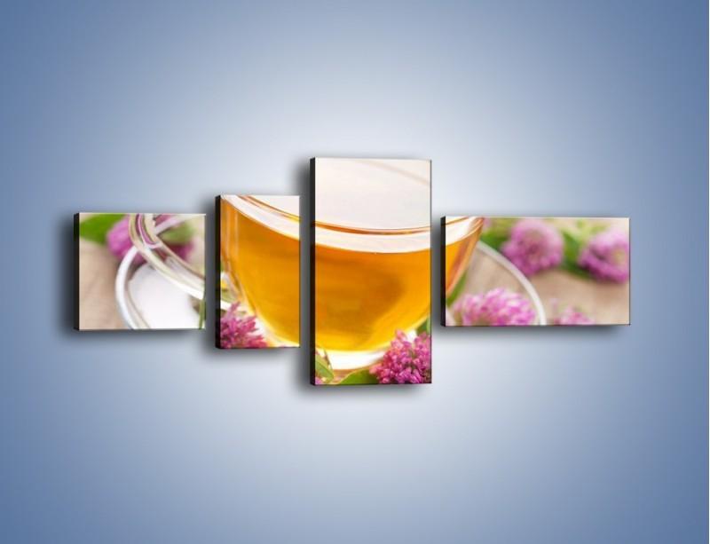 Obraz na płótnie – Herbata z kwiatami – czteroczęściowy JN283W5
