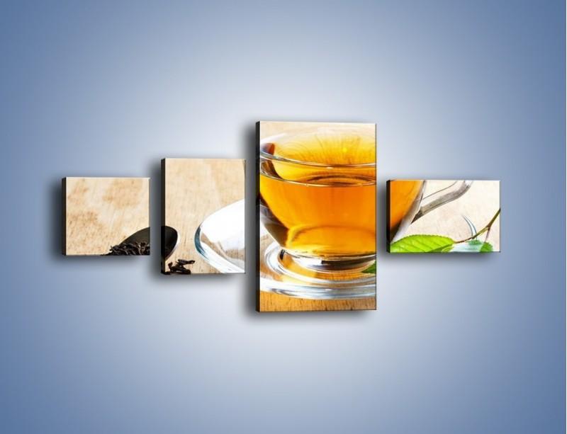 Obraz na płótnie – Listek mięty dla orzeźwienia herbaty – czteroczęściowy JN290W5