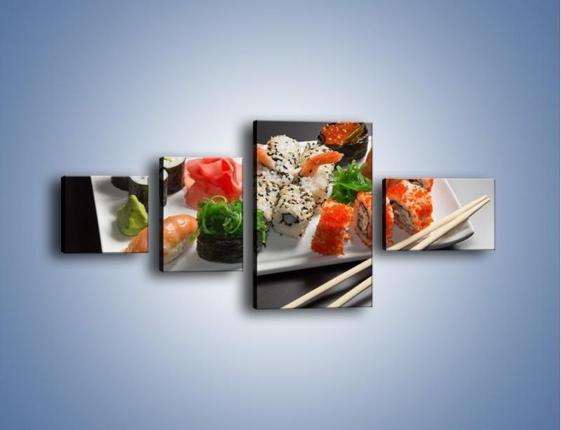Obraz na płótnie – Kuchnia azjatycka na półmisku – czteroczęściowy JN295W5