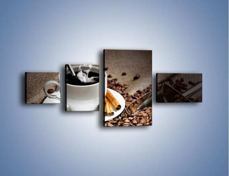 Obraz na płótnie – Czarna palona kawa – czteroczęściowy JN311W5