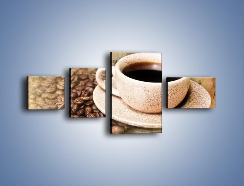 Obraz na płótnie – List przy filiżance kawy – czteroczęściowy JN347W5