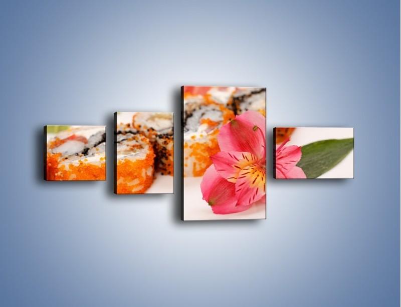 Obraz na płótnie – Sushi z kwiatem – czteroczęściowy JN354W5
