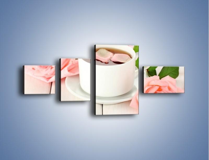 Obraz na płótnie – Herbata wśród róż – czteroczęściowy JN369W5
