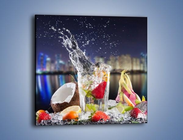 Obraz na płótnie – Tańczące owoce w szklance – jednoczęściowy kwadratowy JN472