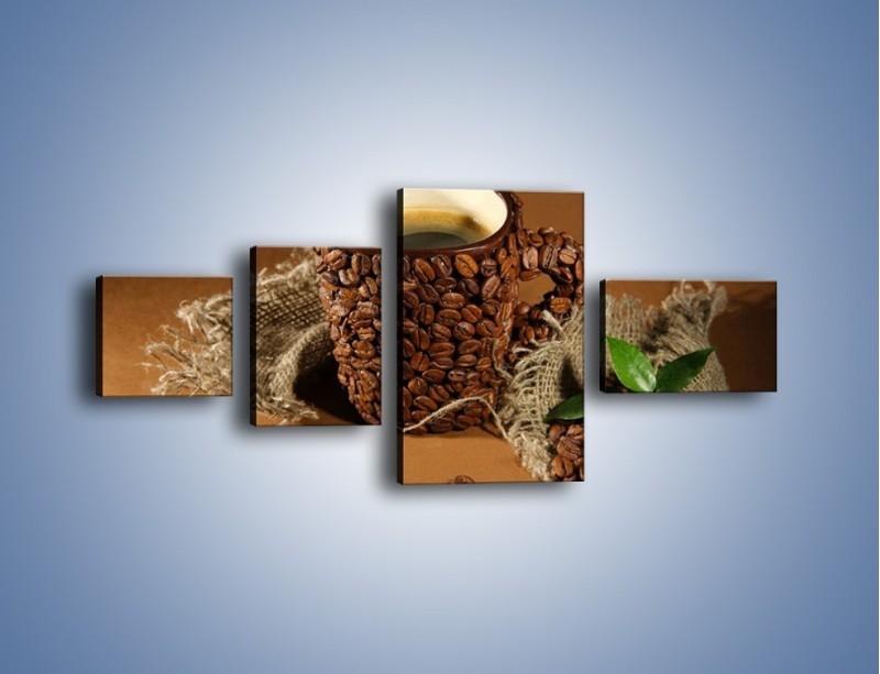 Obraz na płótnie – Kubek z ziarnami kawy – czteroczęściowy JN388W5