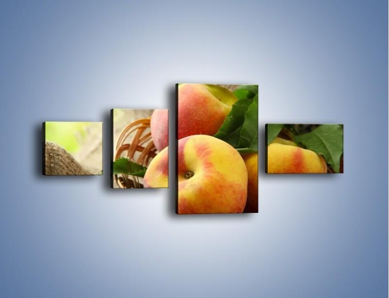Obraz na płótnie – Dojrzałe jabłka w koszu – czteroczęściowy JN390W5
