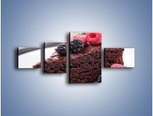 Obraz na płótnie – Czekoladowe brownie z owocami – czteroczęściowy JN408W5