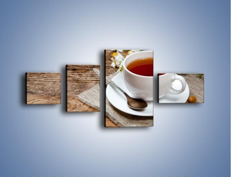 Obraz na płótnie – Herbata wśród stokrotek – czteroczęściowy JN413W5