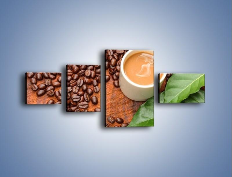 Obraz na płótnie – Ziarna kawy pod liściem – czteroczęściowy JN417W5