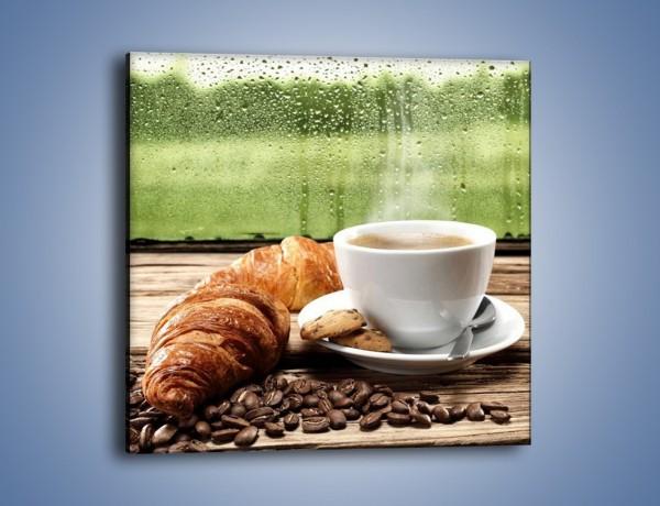 Obraz na płótnie – Deszczowy dzień z gorącą kawą – jednoczęściowy kwadratowy JN474
