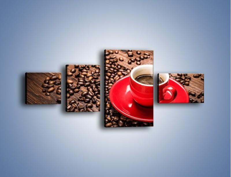 Obraz na płótnie – Kawa w czerwonej filiżance – czteroczęściowy JN441W5