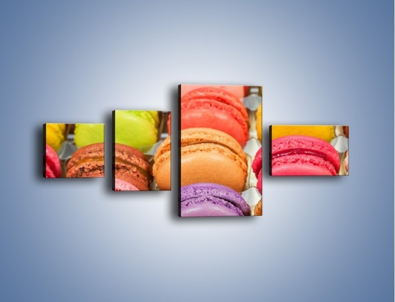 Obraz na płótnie – Słodkie babeczki w kolorach tęczy – czteroczęściowy JN458W5