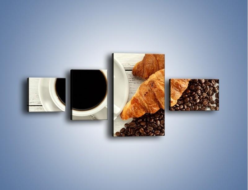 Obraz na płótnie – Kawa na białym stole – czteroczęściowy JN462W5
