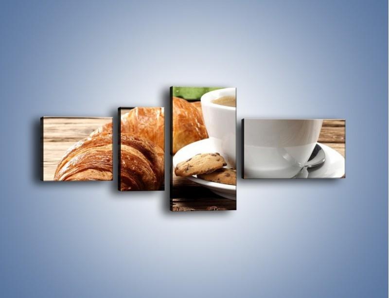 Obraz na płótnie – Deszczowy dzień z gorącą kawą – czteroczęściowy JN474W5