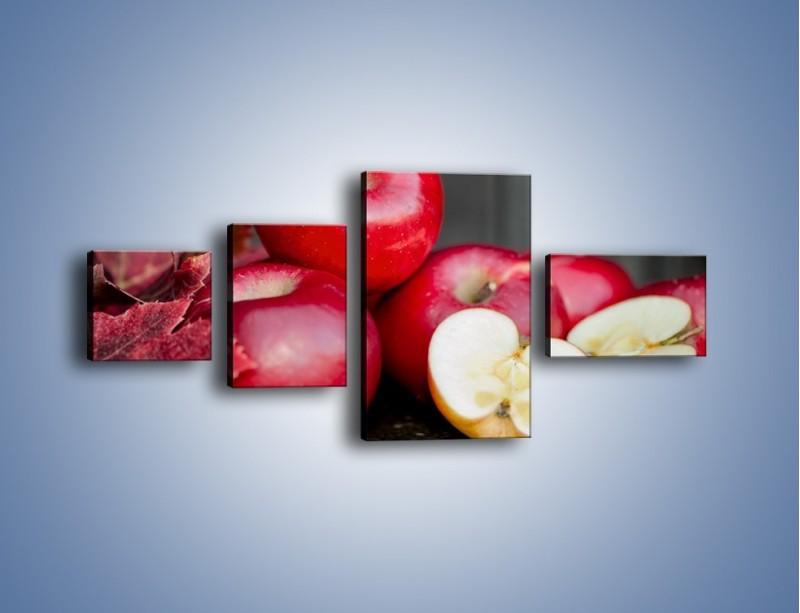 Obraz na płótnie – Czerwone jabłka późną jesienią – czteroczęściowy JN619W5