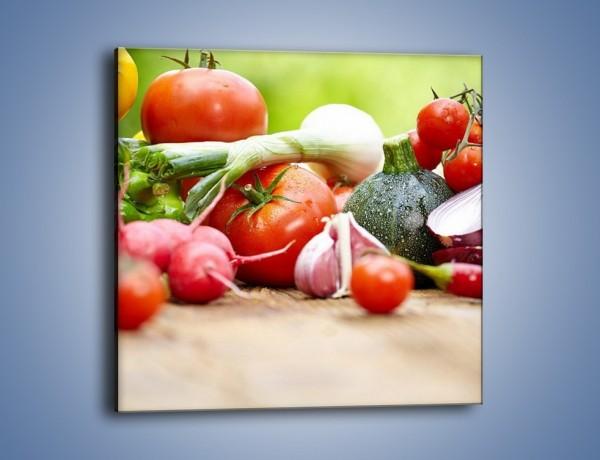 Obraz na płótnie – Warzywne kombinacje na stole – jednoczęściowy kwadratowy JN481