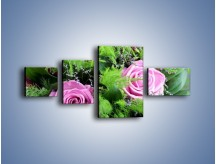 Obraz na płótnie – Bukiet róż wypełniony trawką – czteroczęściowy K068W5