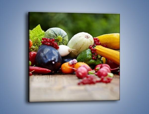 Obraz na płótnie – Warzywa na ogrodowym stole – jednoczęściowy kwadratowy JN483