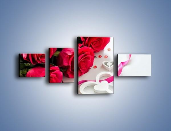 Obraz na płótnie – Róża z miłosnym przekazem – czteroczęściowy K1011W5
