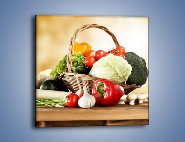 Obraz na płótnie – Kosz po brzegi wypełniony warzywami – jednoczęściowy kwadratowy JN484