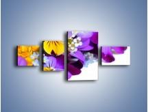 Obraz na płótnie – Ciepłe kolory w kwiatach – czteroczęściowy K442W5