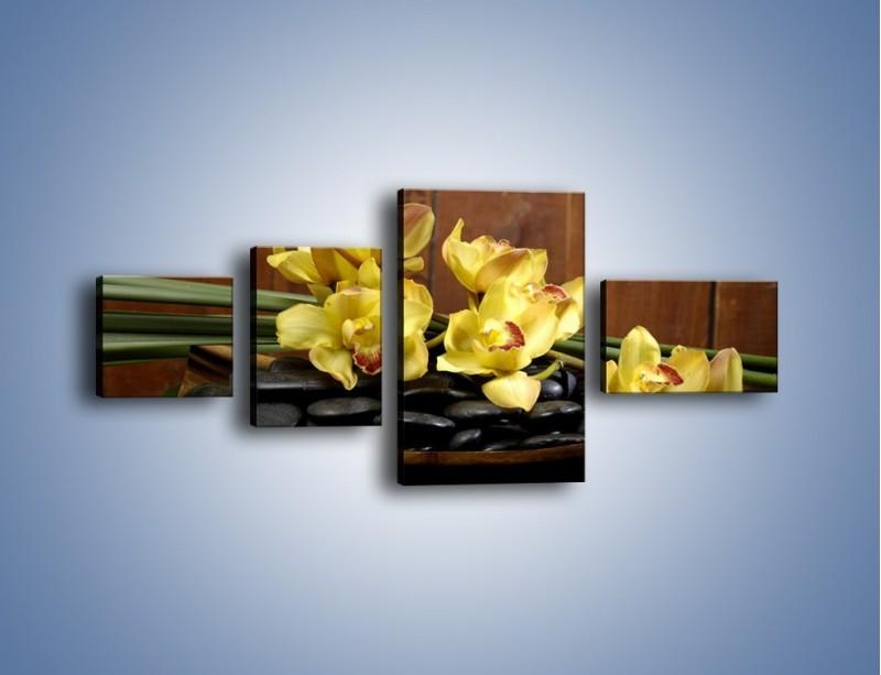 Obraz na płótnie – Kwiaty na drewnianym naczyniu – czteroczęściowy K575W5