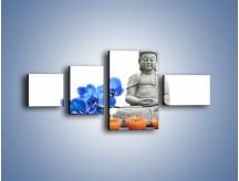 Obraz na płótnie – Budda i kwiat – czteroczęściowy K593W5