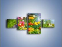 Obraz na płótnie – Bańkowy świat kwiatów – czteroczęściowy K691W5
