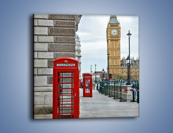 Obraz na płótnie – Czerwone budki telefoniczne na tle Big Bena – jednoczęściowy kwadratowy AM161