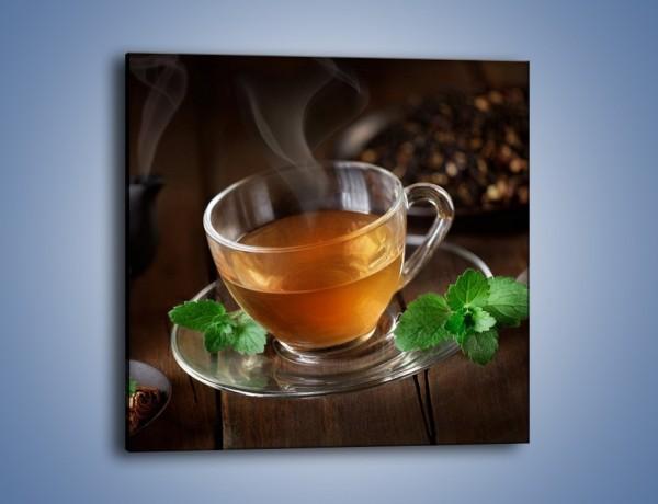 Obraz na płótnie – Mała filiżanka gorącej herbaty – jednoczęściowy kwadratowy JN493