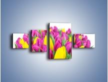 Obraz na płótnie – Bukiet fioletowo-żółtych tulipanów – czteroczęściowy K778W5
