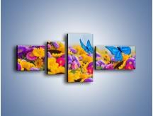 Obraz na płótnie – Bajka o kwiatach i motylach – czteroczęściowy K794W5