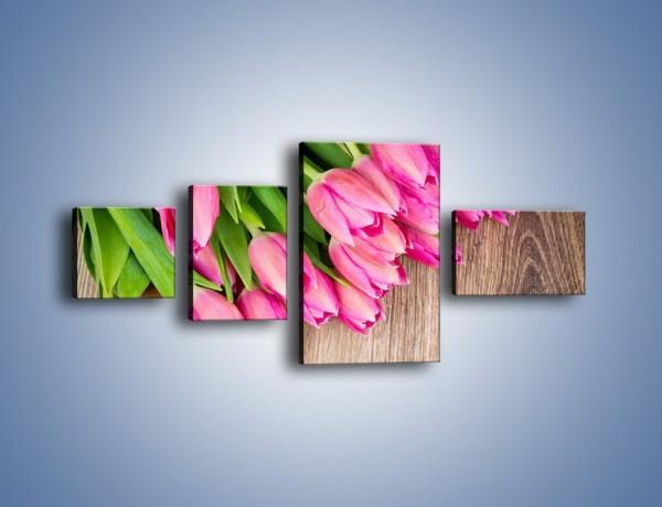 Obraz na płótnie – Do góry nogami z tulipanami – czteroczęściowy K807W5