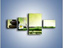 Obraz na płótnie – Bambus i źródło wody – czteroczęściowy K930W5