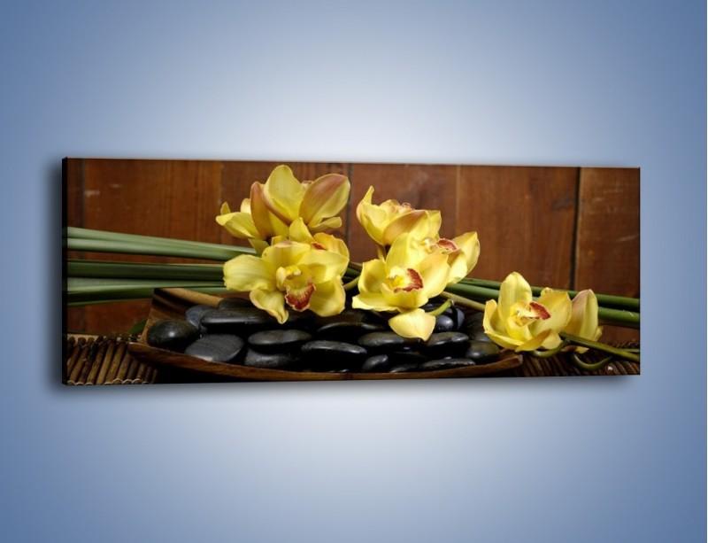 Obraz na płótnie – Kwiaty na drewnianym naczyniu – jednoczęściowy panoramiczny K575