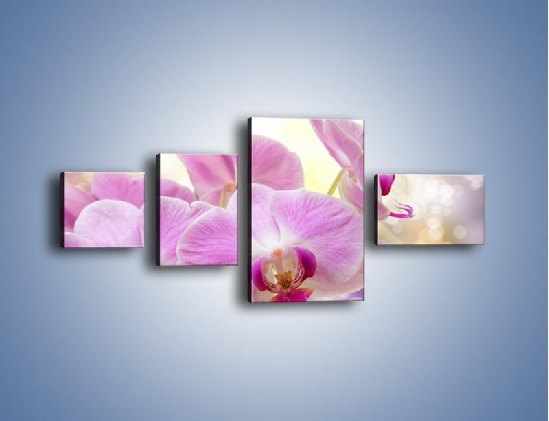 Obraz na płótnie – Lila kwiaty o poranku – czteroczęściowy K976W5