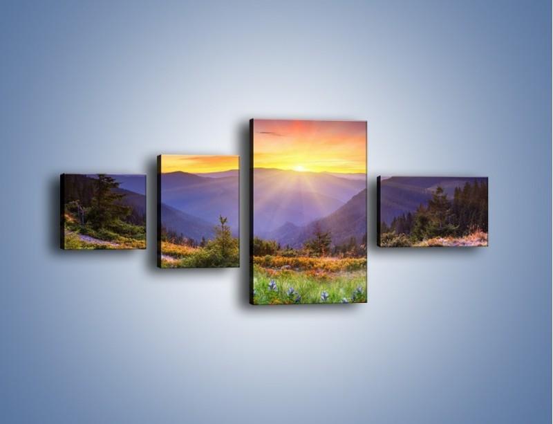 Obraz na płótnie – Góry o zachodzie słońca – czteroczęściowy KN014W5