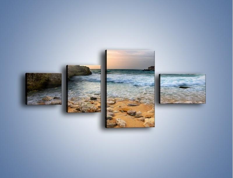 Obraz na płótnie – Kamienista plaża o poranku – czteroczęściowy KN043W5