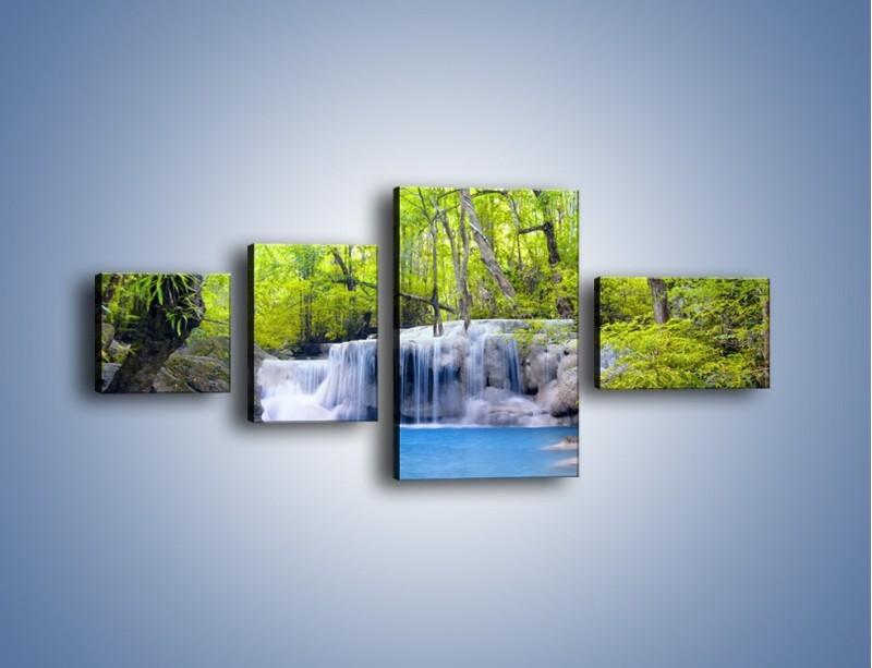 Obraz na płótnie – Mały leśny wodospad – czteroczęściowy KN057W5