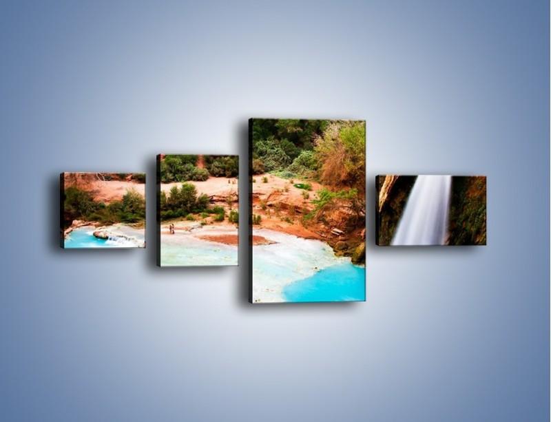Obraz na płótnie – Zabawy przy wodospadzie – czteroczęściowy KN095W5