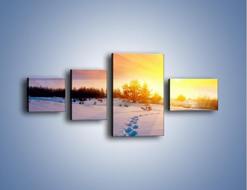 Obraz na płótnie – Ślady na śnieżnym puchu – czteroczęściowy KN1015W5