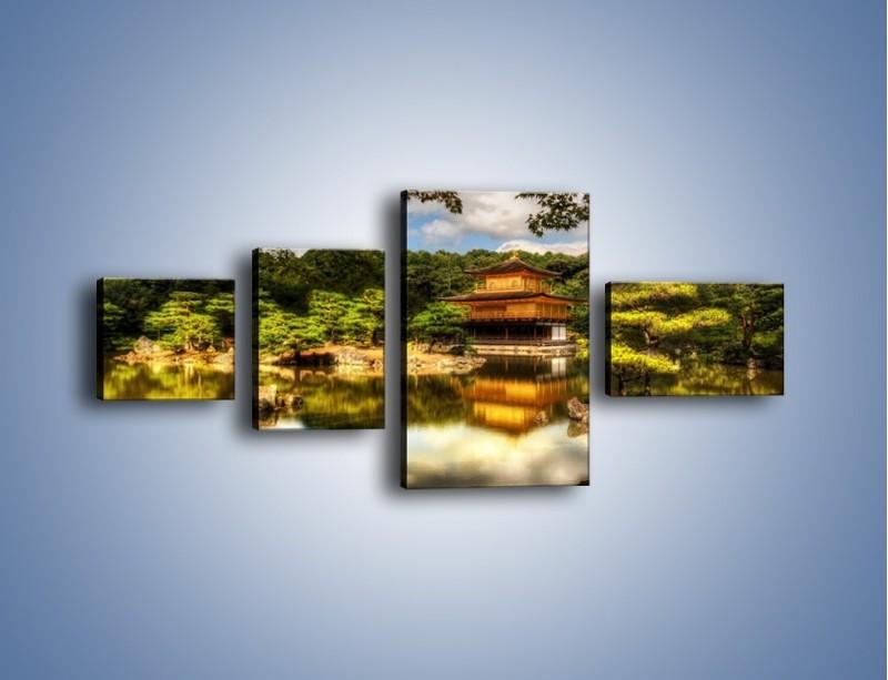 Obraz na płótnie – Widok z domu na wodę – czteroczęściowy KN1030W5