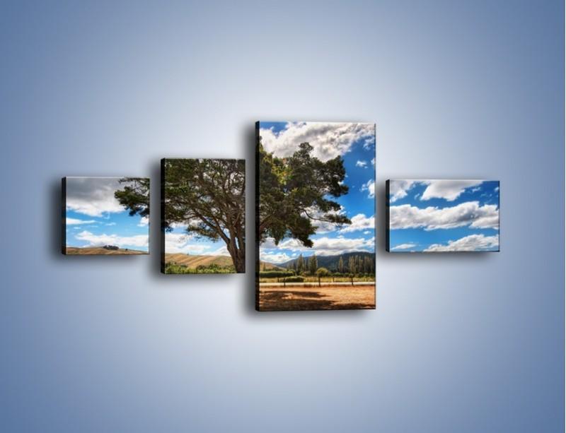 Obraz na płótnie – Cień pod rozłożystym drzewem – czteroczęściowy KN1037W5