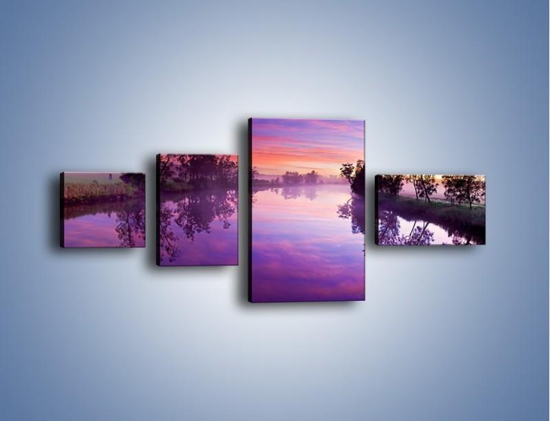 Obraz na płótnie – Fiolet w wodzie i na niebie – czteroczęściowy KN1046W5