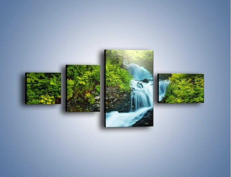 Obraz na płótnie – Spływ wodny i zieleń – czteroczęściowy KN1069W5