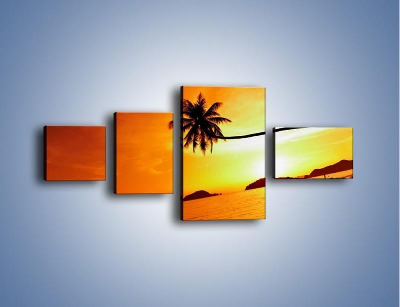 Obraz na płótnie – Palma o zachodzie słońca – czteroczęściowy KN1077W5