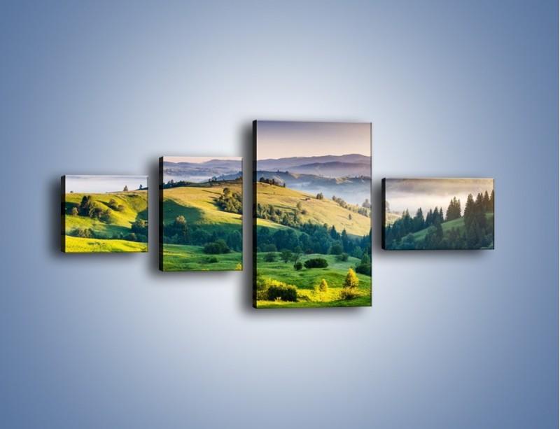 Obraz na płótnie – Tylko zieleń i góry – czteroczęściowy KN1084W5