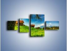 Obraz na płótnie – Chatki na polanie – czteroczęściowy KN1085AW5