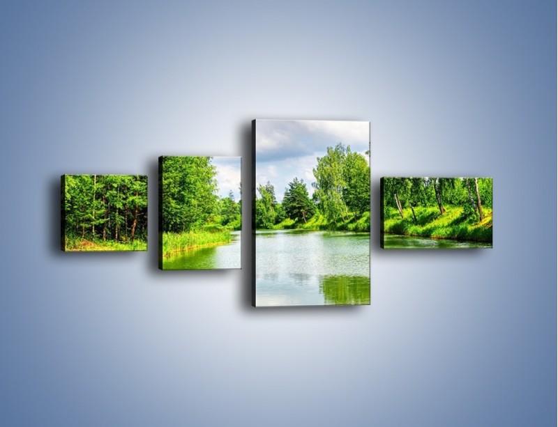 Obraz na płótnie – Spokojna woda i las – czteroczęściowy KN1086W5